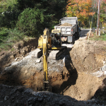 Excavating for footings