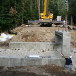 Lining up the first precast bridge section