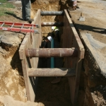 Installing the new gravity sewer line