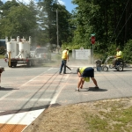 Industrial Traffic Lines, getting roadway ready to paint a Crosswalk